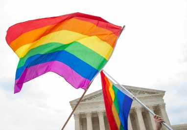 Pride flags at U.S. Supreme Court